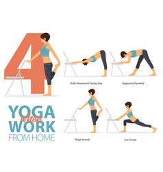 4 yoga poses for office syndrome vector