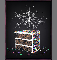 a piece birthday cake with sparklers and vector image