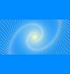 a spiral of white round dots on a blue background vector image