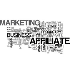 Affiliates in your strategy text word cloud vector