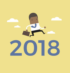 African businessman jump over number 2018 vector