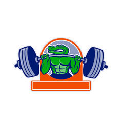 Alligator lifting heavy barbell circle mascot vector