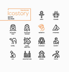 ancient egypt - modern line design style icons set vector image