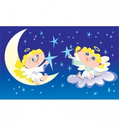Angels decorate sky vector