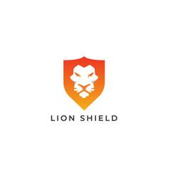 Animal lion head shield abstract logo design vector