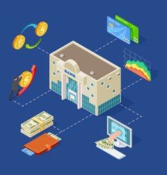 banking isometric concept with bank vector image