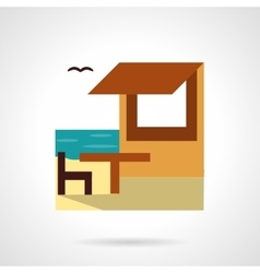Beach rest flat color design icon vector image