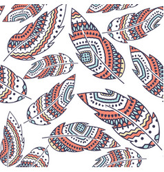 boho feather seamless repeat pattern vector image