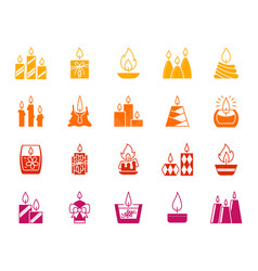candle flame silhouette fire icon light set vector image