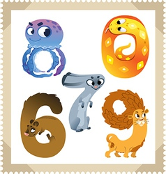 Cartoon animals numbers set with white background vector