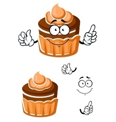 Cartoon chocolate cupcake with caramel cream vector image