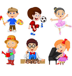 Cartoon kids with different hobbies vector