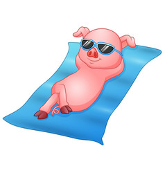 Cartoon piglets sunbathing on beach vector