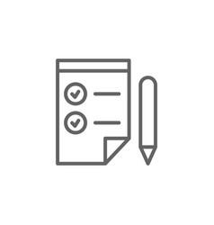 Checklist pen outline icon elements business vector