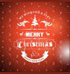 chrischristmas greetings card with red background vector image