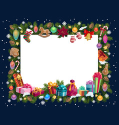 Christmas frame xmas gifts and new year present vector