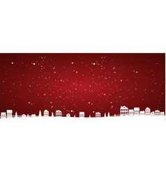 christmas landscape with houses and trees vector image