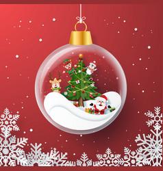 christmas party inside christmas ball vector image