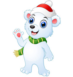 Christmas polar bear cartoon waving hands vector