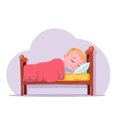 Cute cartoon boy sleep in bed good dream rest vector