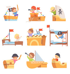 cute creative kids playing toys made cardboard vector image