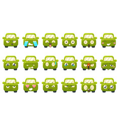 cute green car cartoon characters showing vector image