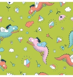 Cute seamless pattern Dragons and vector