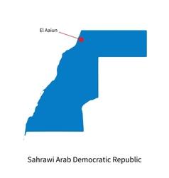 Detailed map sahrawi arab democratic republic vector