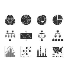diagrams glyph icons set schematic representation vector image