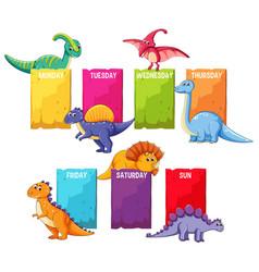 Dino on schedule template vector