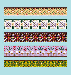 Ethnic pattern colorful ribbons vector