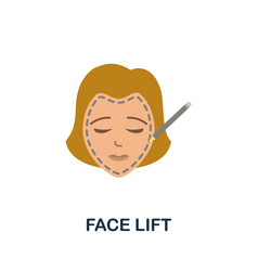 Face lift flat icon colored sign from plastic vector
