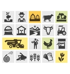 Farm icons set signs and symbols vector