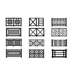 fences wooden icons vector image