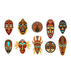 Flat set colorful african ethnic tribal ritual vector