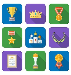 Flat style colored various awards symbols icons vector