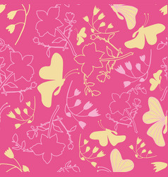 floral yellow butterflies background pattern vector image