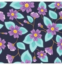Flowers pattern vintage on blue vector image