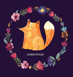 fox and flowers vector image