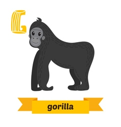 Gorilla G letter Cute children animal alphabet in vector