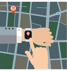 Gps concept in flat style Smart watch navigator vector image