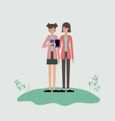 group of women using smartphone vector image