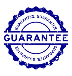 Grunge blue guarantee word round rubber seal vector