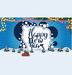 happy new year blue postcard with cartoon winter vector image