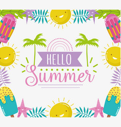 hello summer season tropical lettering vector image