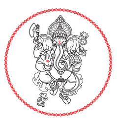 Hindu god ganesha hand drawn tribal style vector