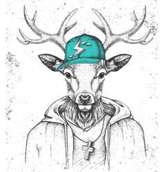 Hipster animal deer dressed in cap like rapper vector