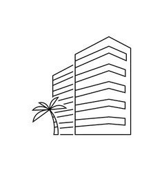 hotel building with palm tree outline vector image
