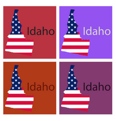 Idaho state of america with map flag print on map vector