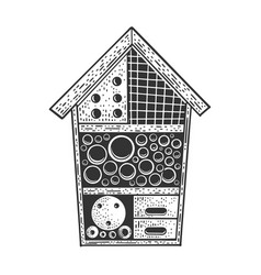Insect hotel sketch vector